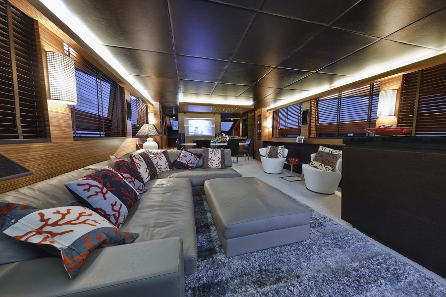 a large home theater on a yacht
